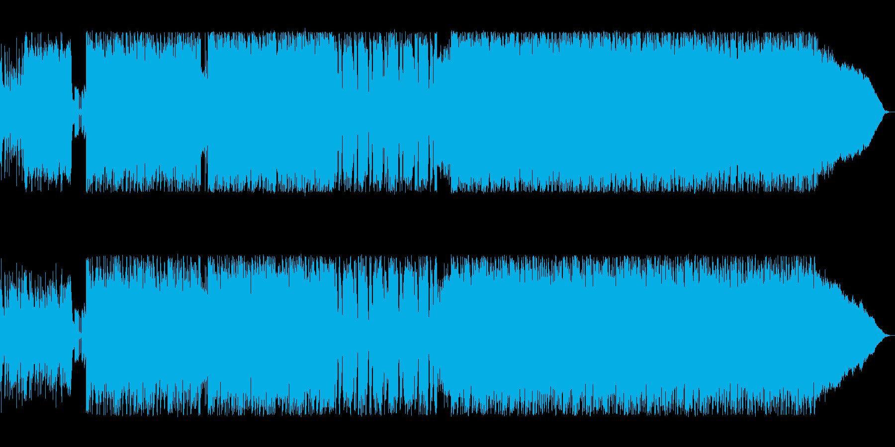 ドラムが炸裂するハードロックの再生済みの波形
