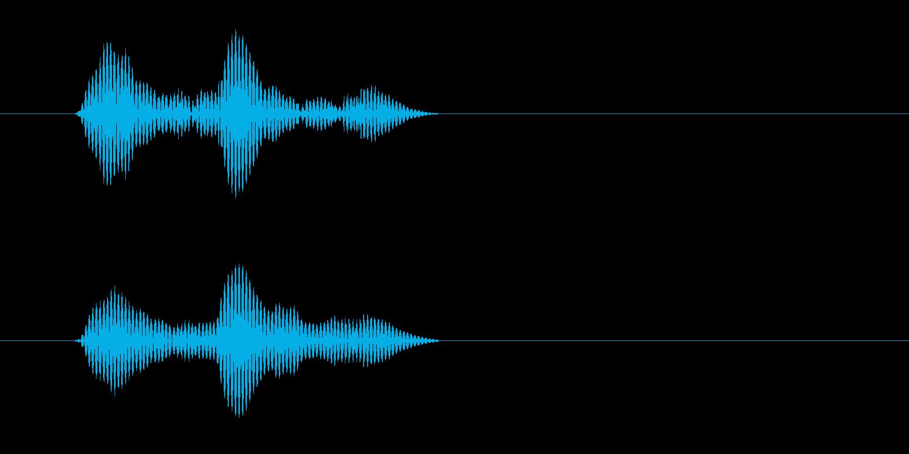 カッ(木製の物を叩く乾いた音)の再生済みの波形