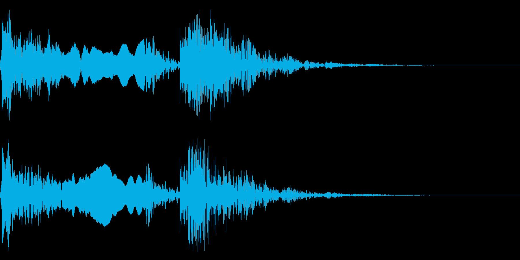 和風な歌舞伎の笛(能管)太鼓インパクト4の再生済みの波形