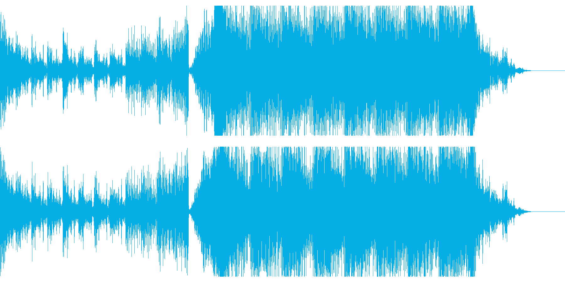 ハリウッド映画トレイラー風の重厚な曲の再生済みの波形