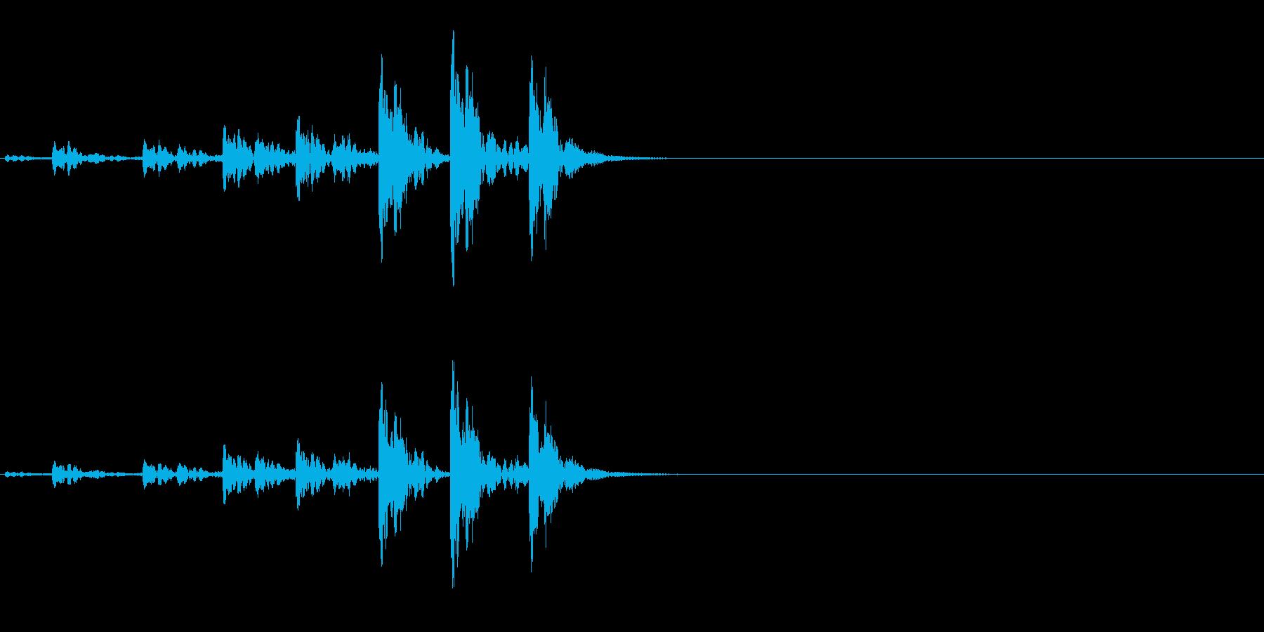 相撲などの触れ太鼓「大拍子」の連続音2の再生済みの波形