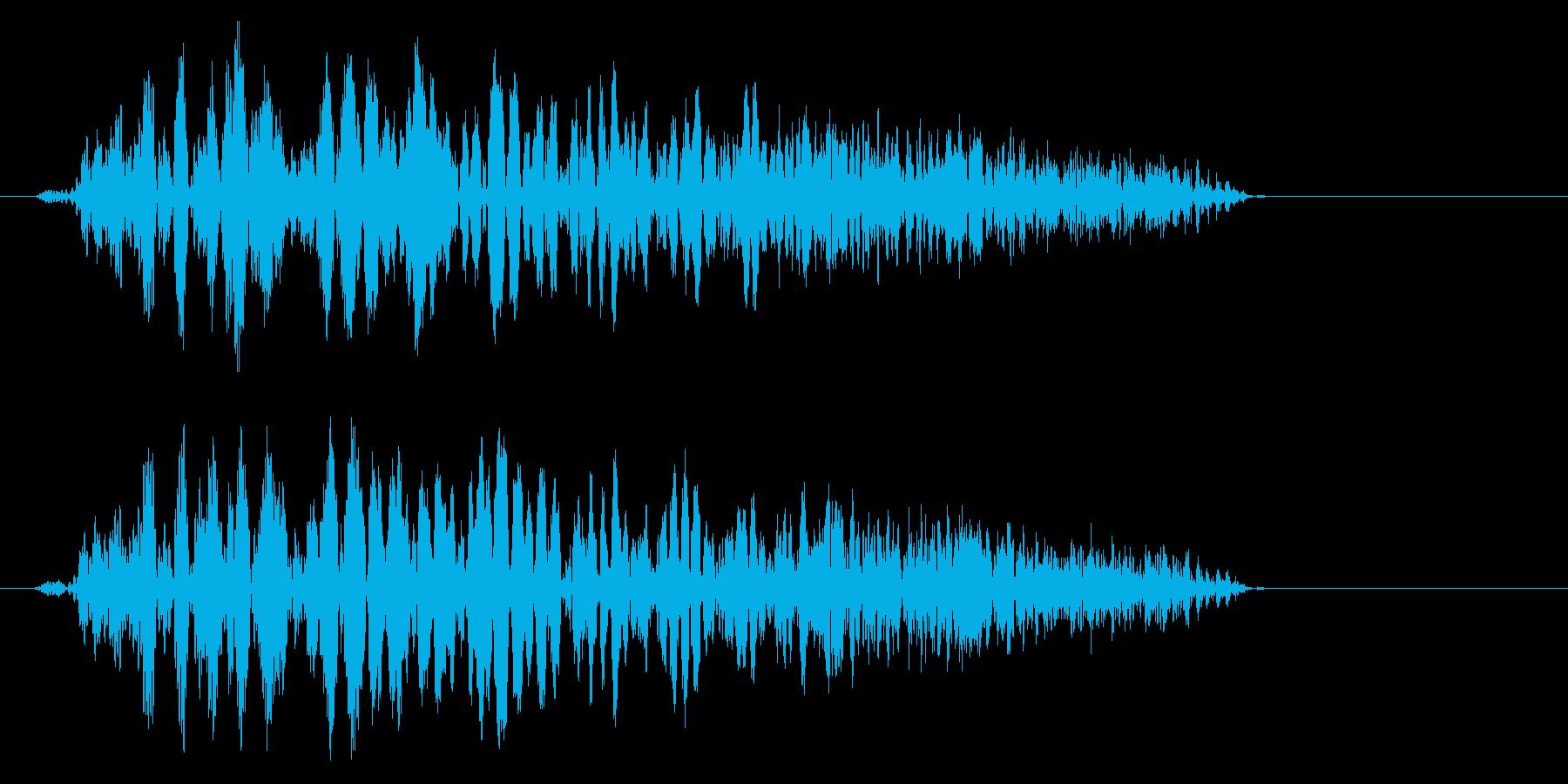 風切り音のような鋭い音の再生済みの波形
