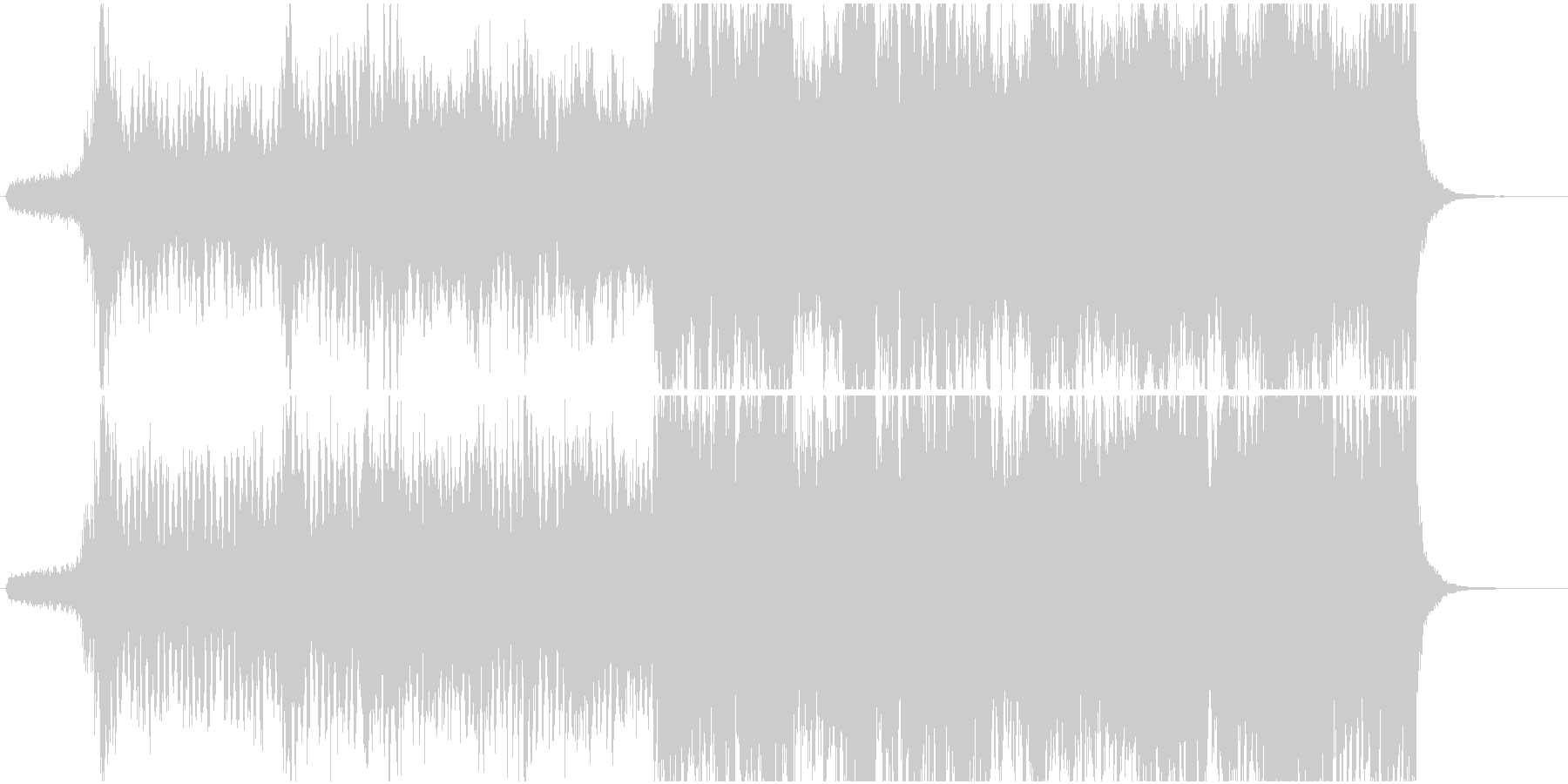 深い森を駆け抜ける様な、疾走感のある曲の未再生の波形
