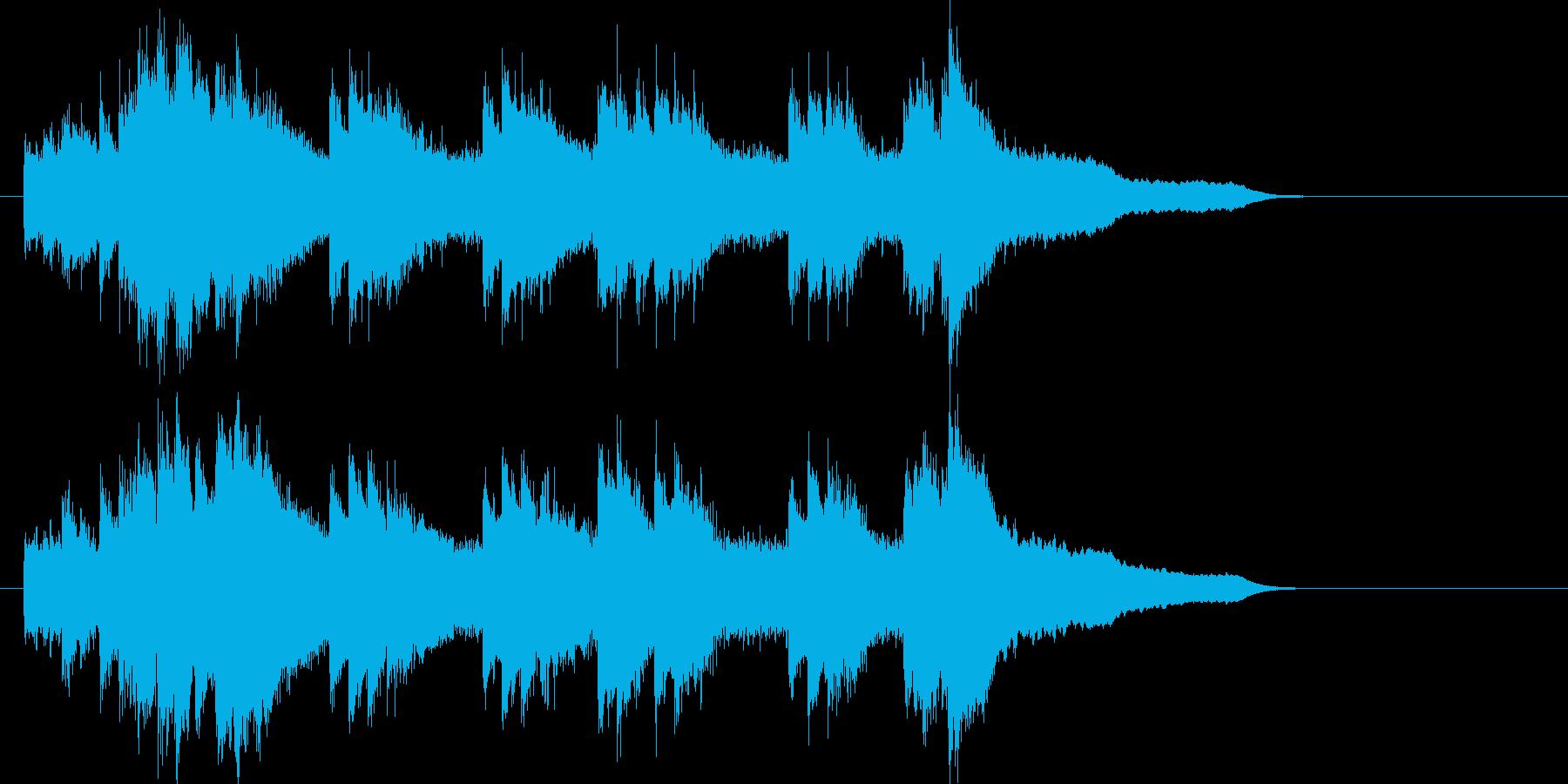 雨音から最後、爽やかに終わるピアノの曲の再生済みの波形