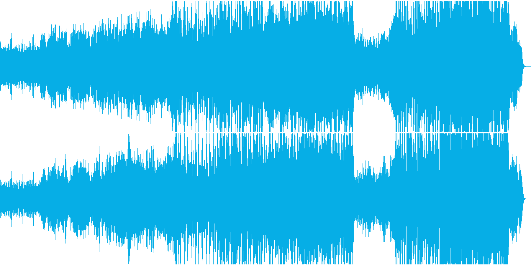 静かなピアノから壮大なオケ①全楽器フル版の再生済みの波形