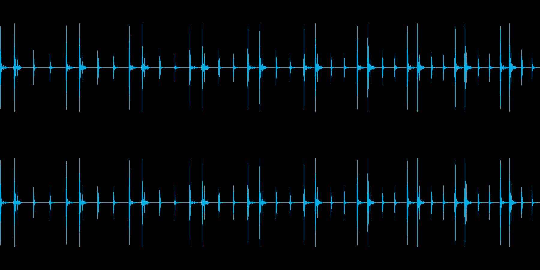 心臓と秒針が早くなっていく音の再生済みの波形