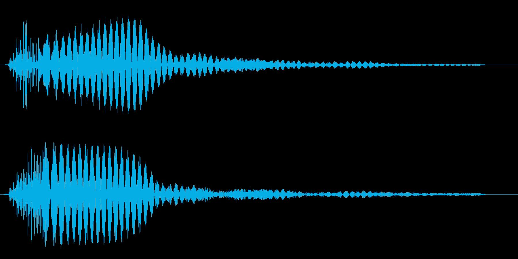 ポーン(シンプルな単音の決定音)の再生済みの波形