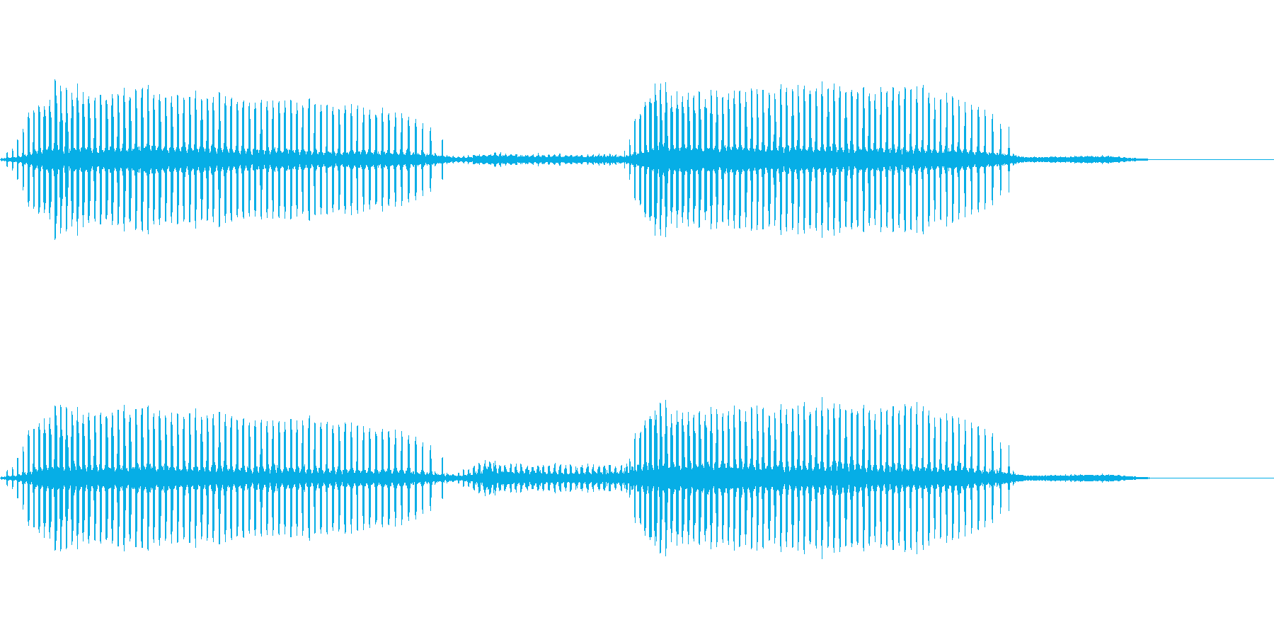 ヒグラシの鳴き声(近距離で合唱)の再生済みの波形