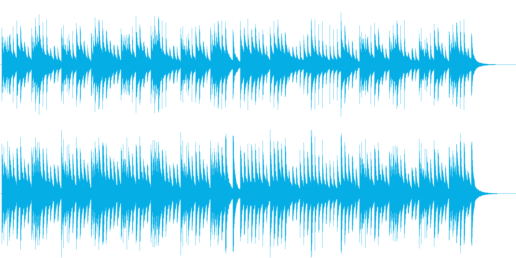 クリスマスの軽快なオルゴール曲の再生済みの波形