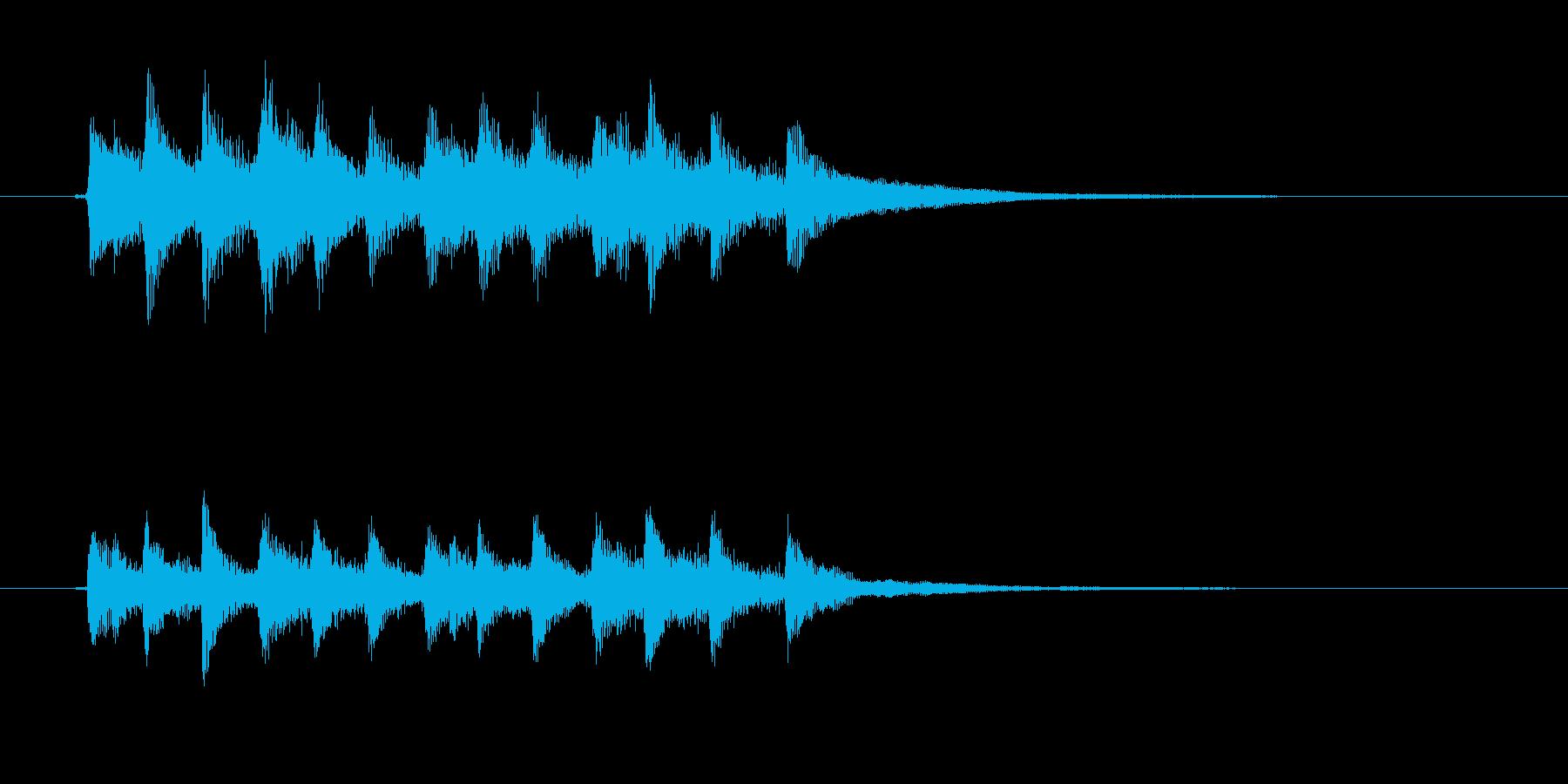 ピアノのメロディーの再生済みの波形