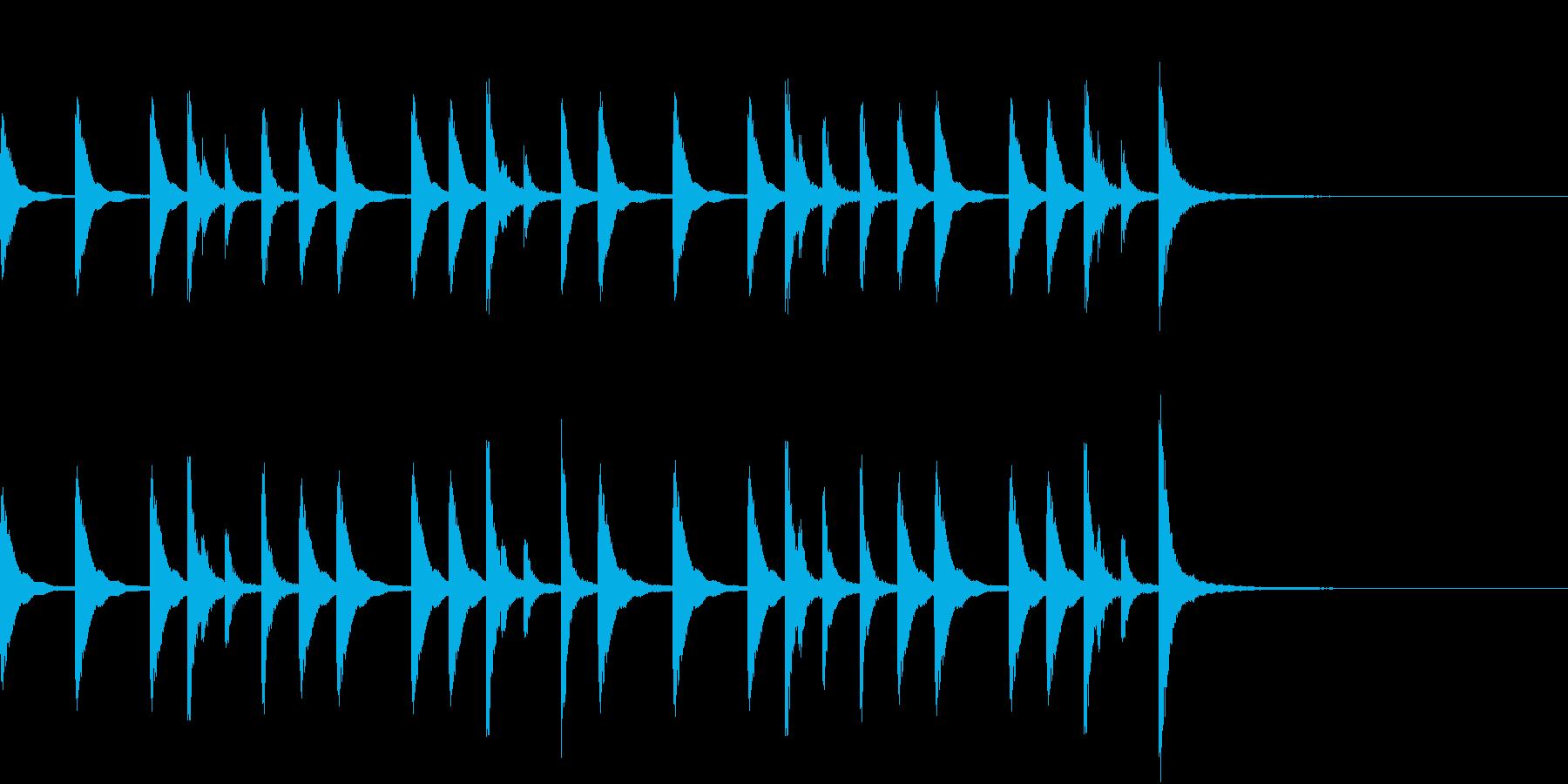 お囃子祭りの軽快な当り鉦のフレーズ音FXの再生済みの波形