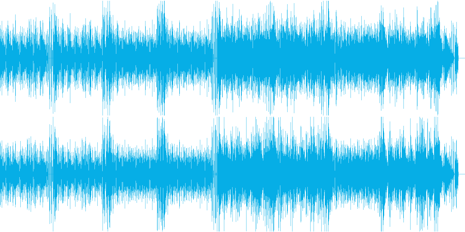 軽快で後半に情緒のあるメロディーが来る曲の再生済みの波形