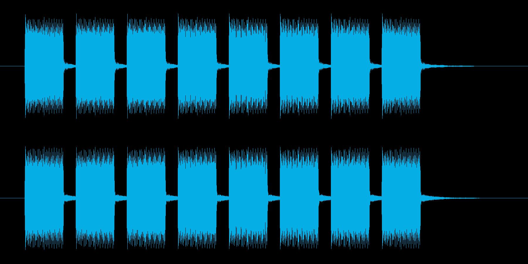 ブザーの連続音の再生済みの波形