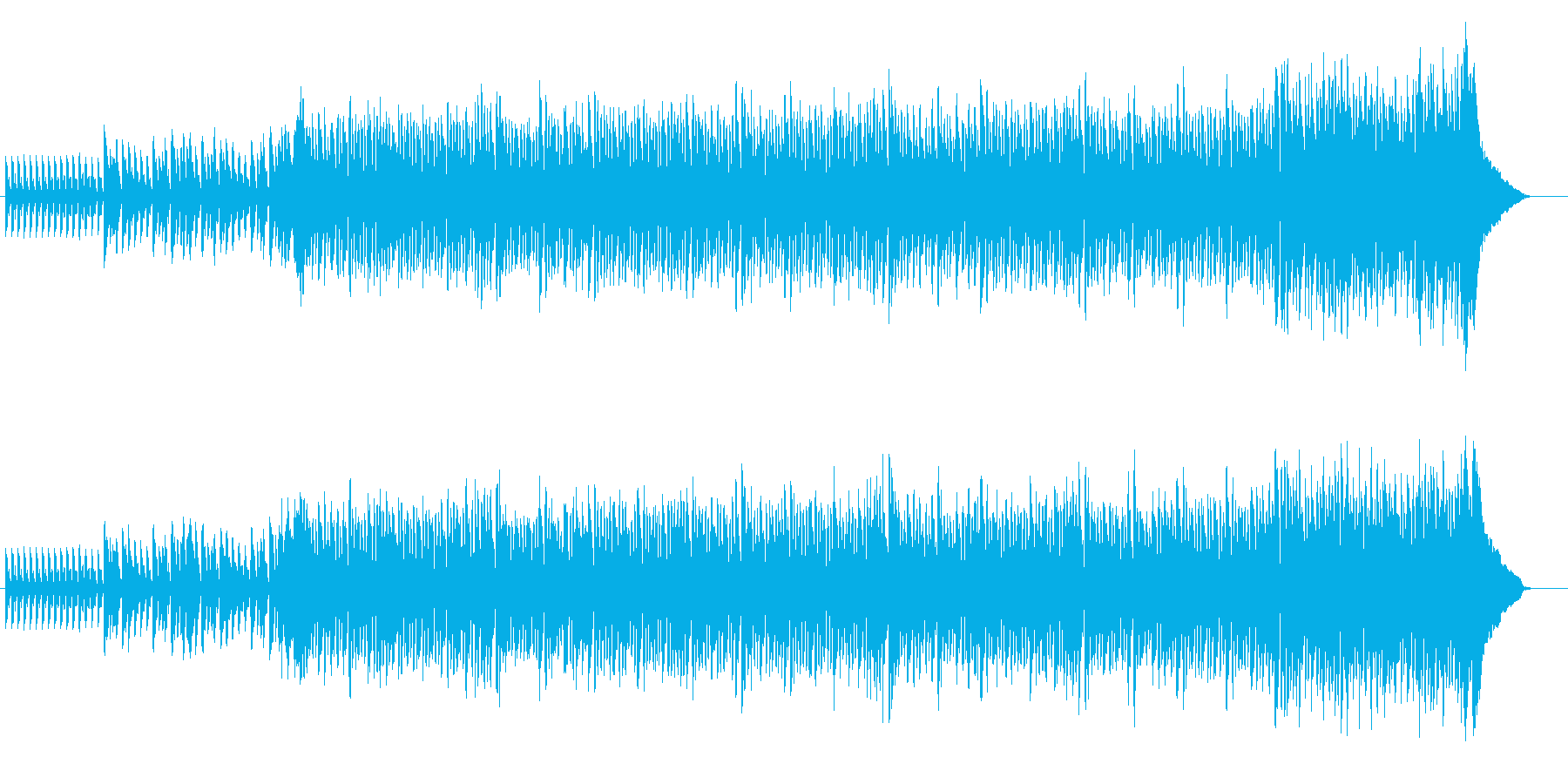 4つ打ちビート、爽やかなピアノ曲の再生済みの波形