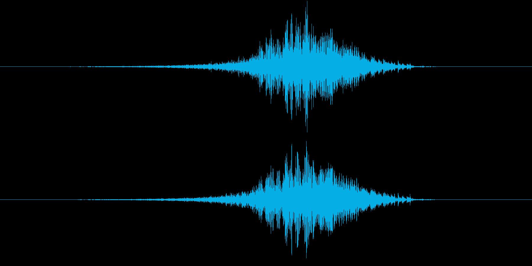 速すぎてぶつかって砕けた音の再生済みの波形