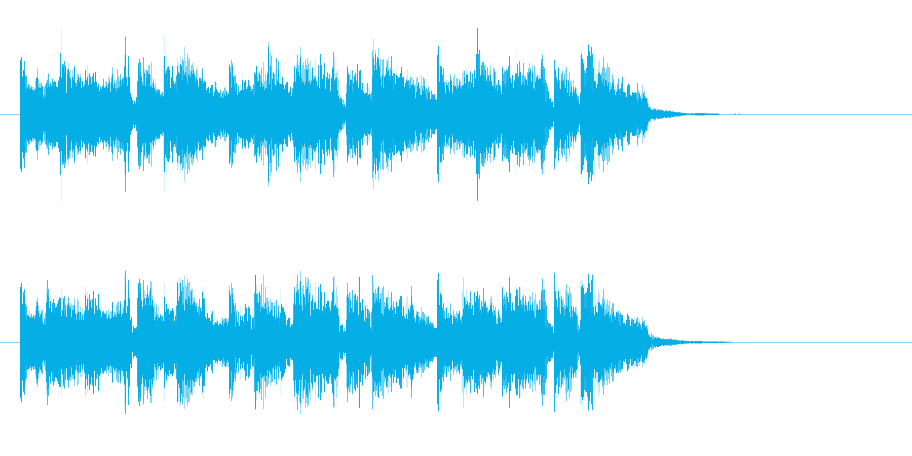 ミディアムテンポのなめらかなポップスの再生済みの波形