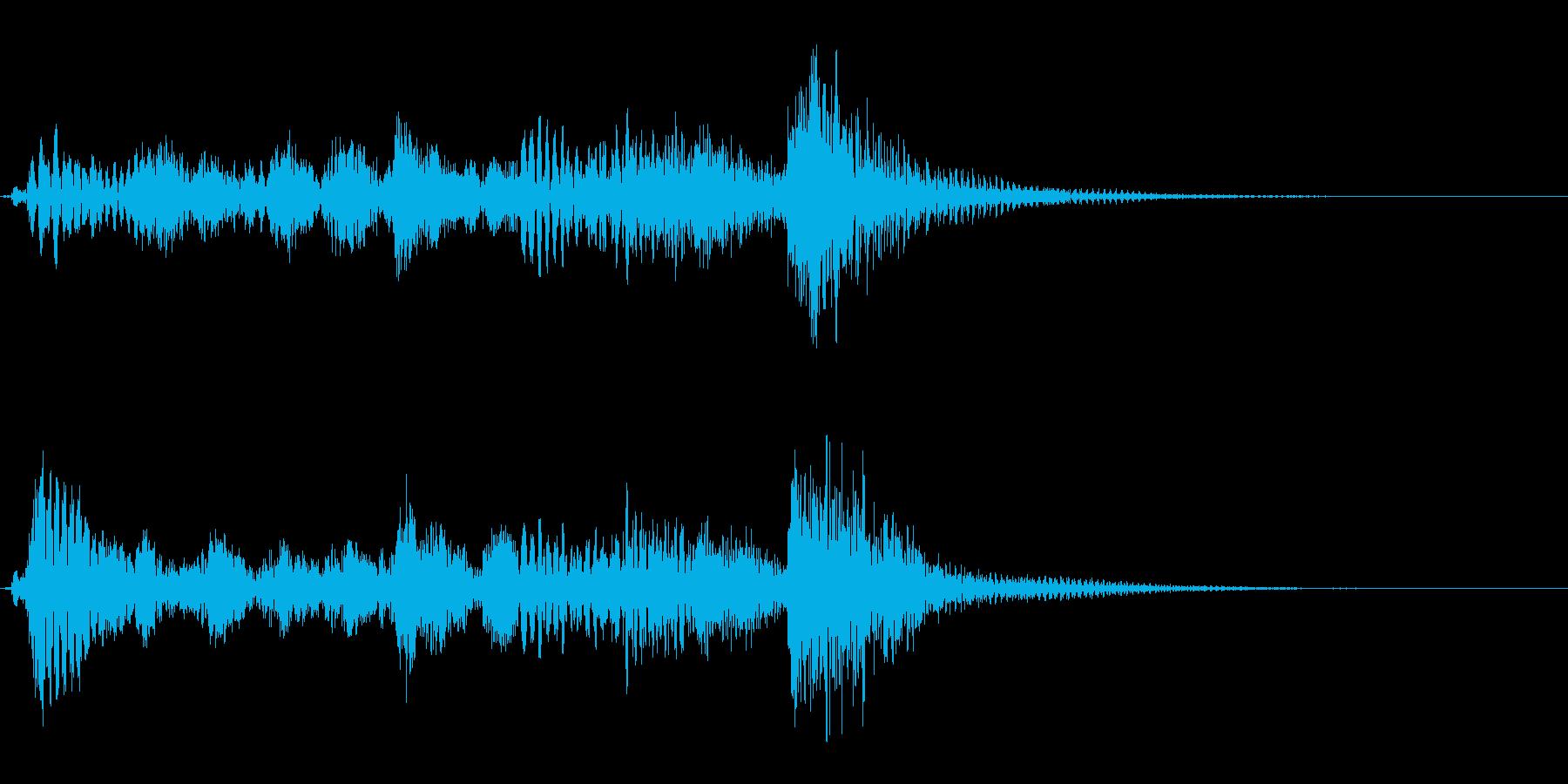 ピッチカートと木琴による軽快なジングルの再生済みの波形