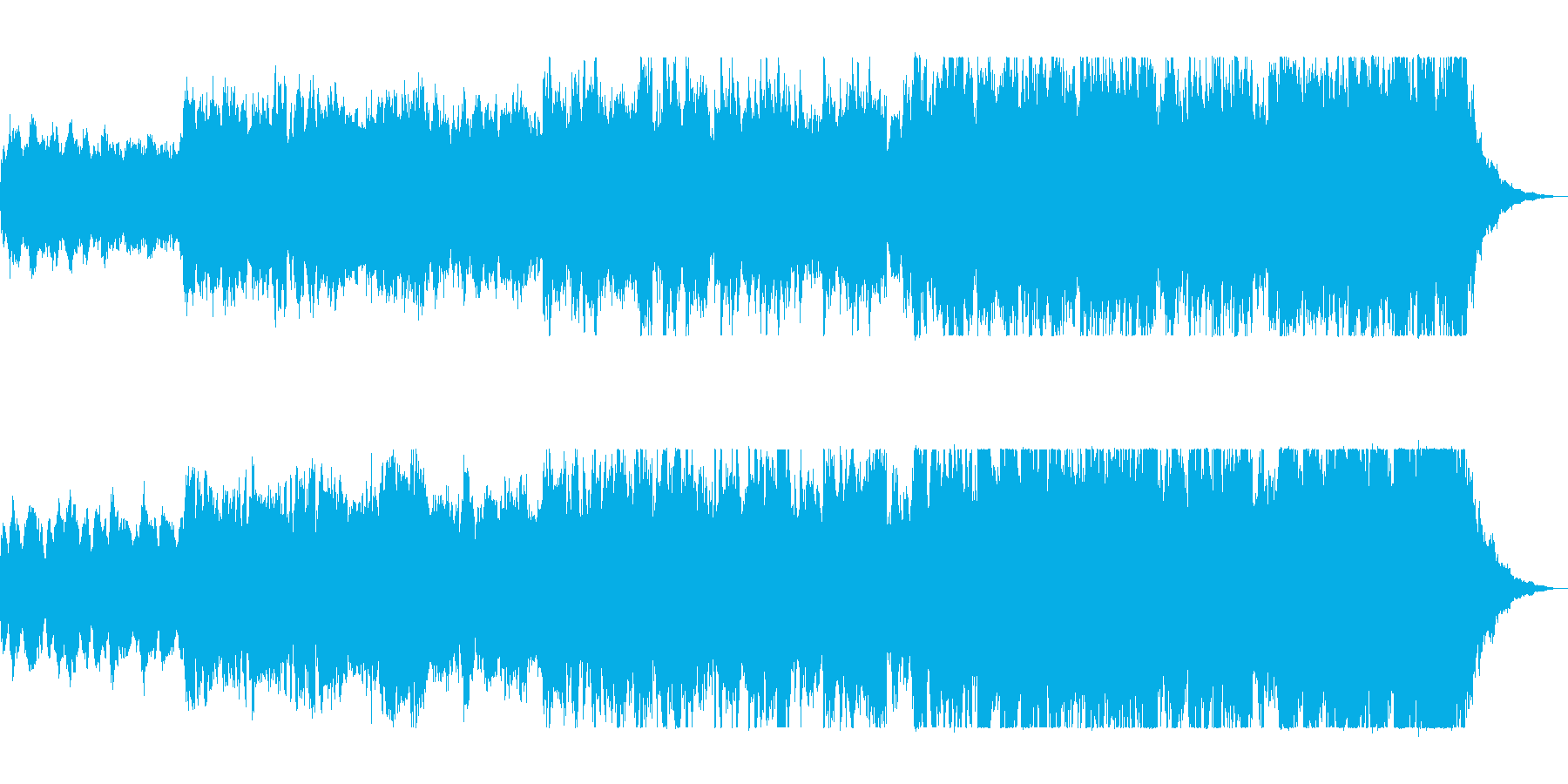 壮大で前向き広がりのあるオーケストラの曲の再生済みの波形