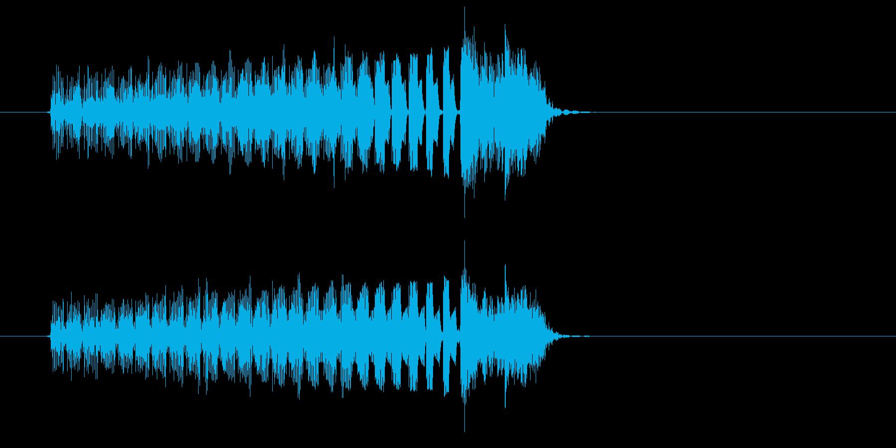 タラララと細かく刻まれたコンピューター音の再生済みの波形