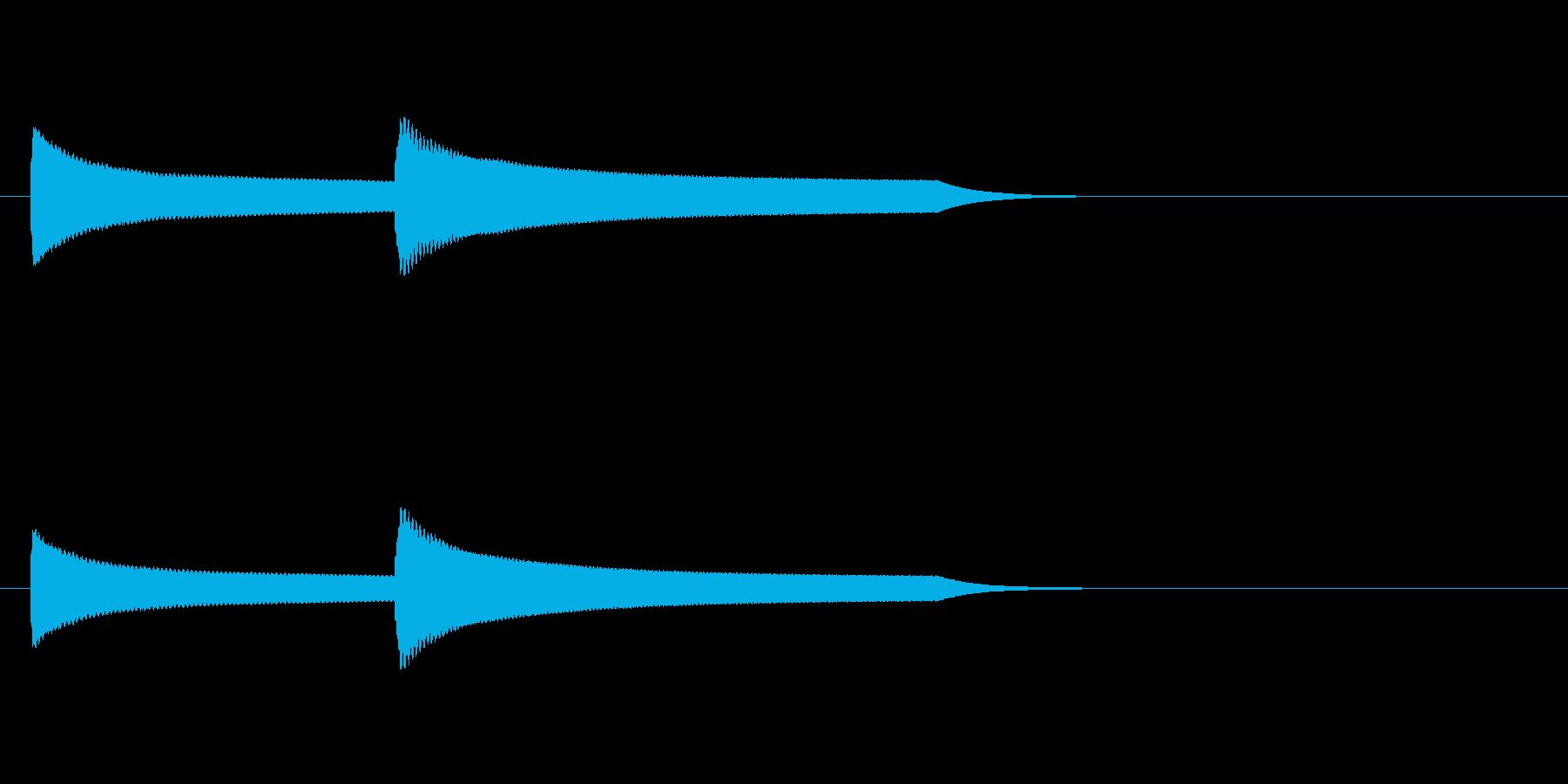 ピーンポンという鐘のチャイム音の再生済みの波形