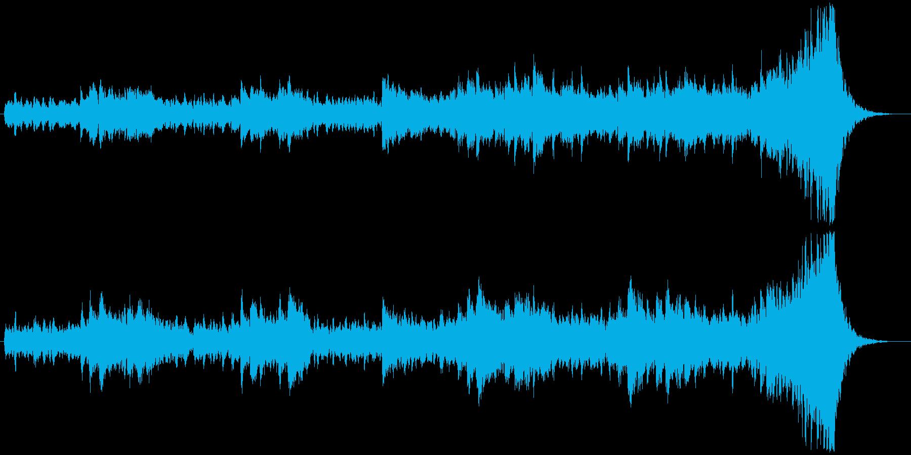 静かで緊張感のあるオーケストラ系のBGMの再生済みの波形