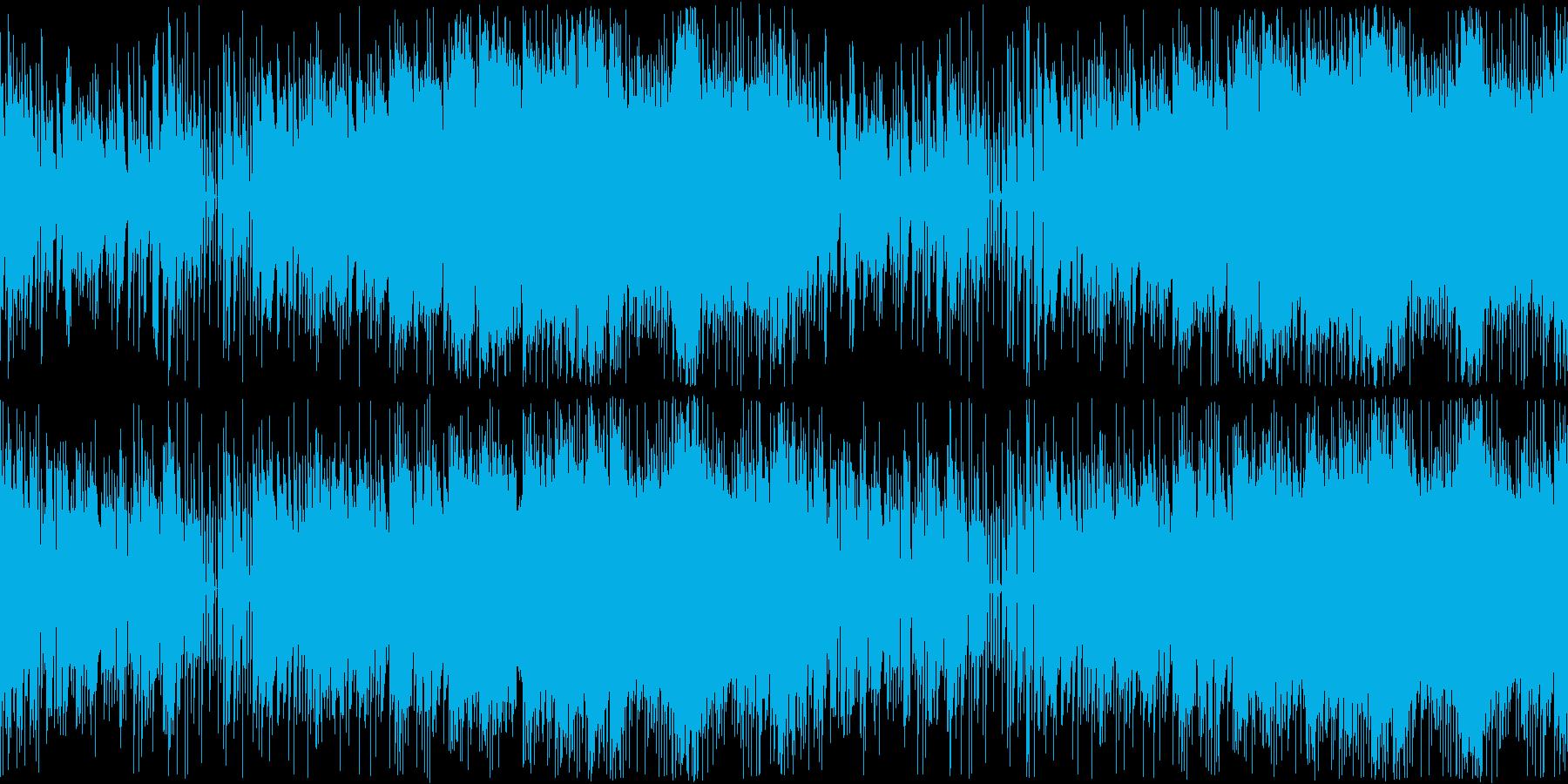 メカっぽい感じで不安なムードの楽曲の再生済みの波形