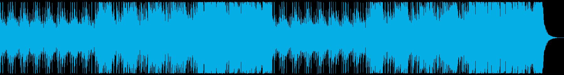 リズム中心の緊迫感のある曲の再生済みの波形