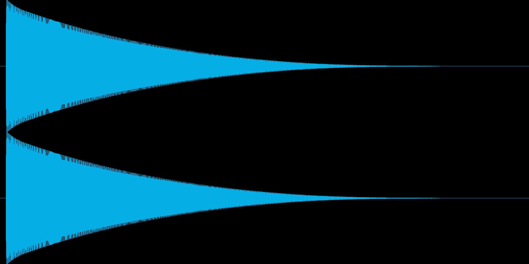 フォーンと長い軌道を描いて落下する音の再生済みの波形