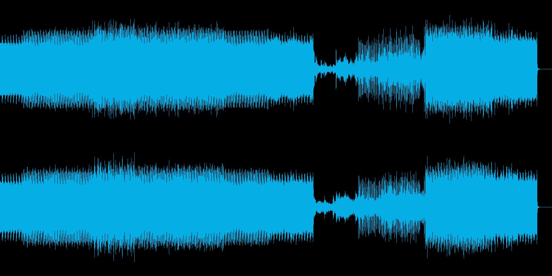 ヘビーな音が迫ってくるダークテクノBGMの再生済みの波形