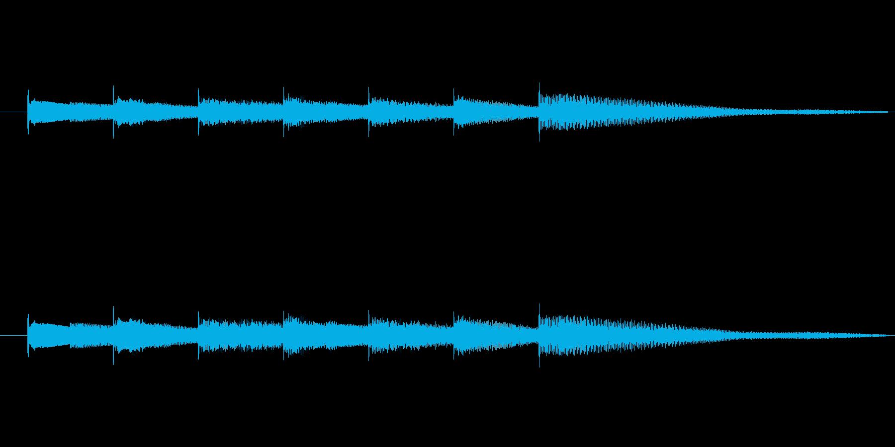 キラキラした透明感のあるオルゴールベルの再生済みの波形