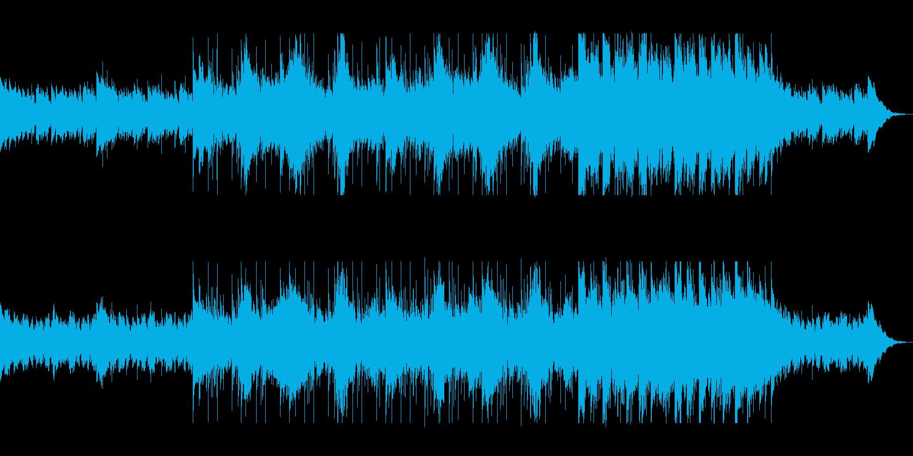 落ち着きのある綺麗なシンセサイザー曲の再生済みの波形