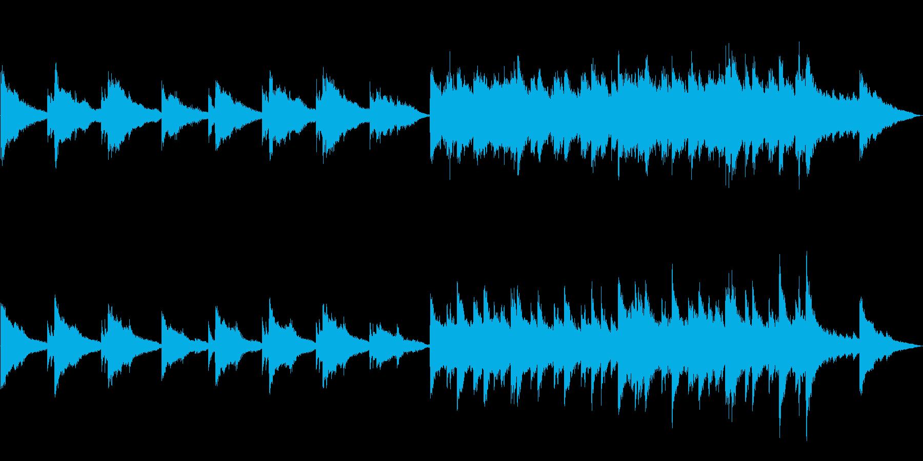とてもゆっくりのソロ・ピアノ曲の再生済みの波形