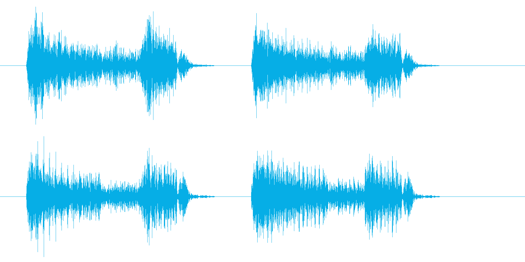 アコースティックギターストロークの再生済みの波形