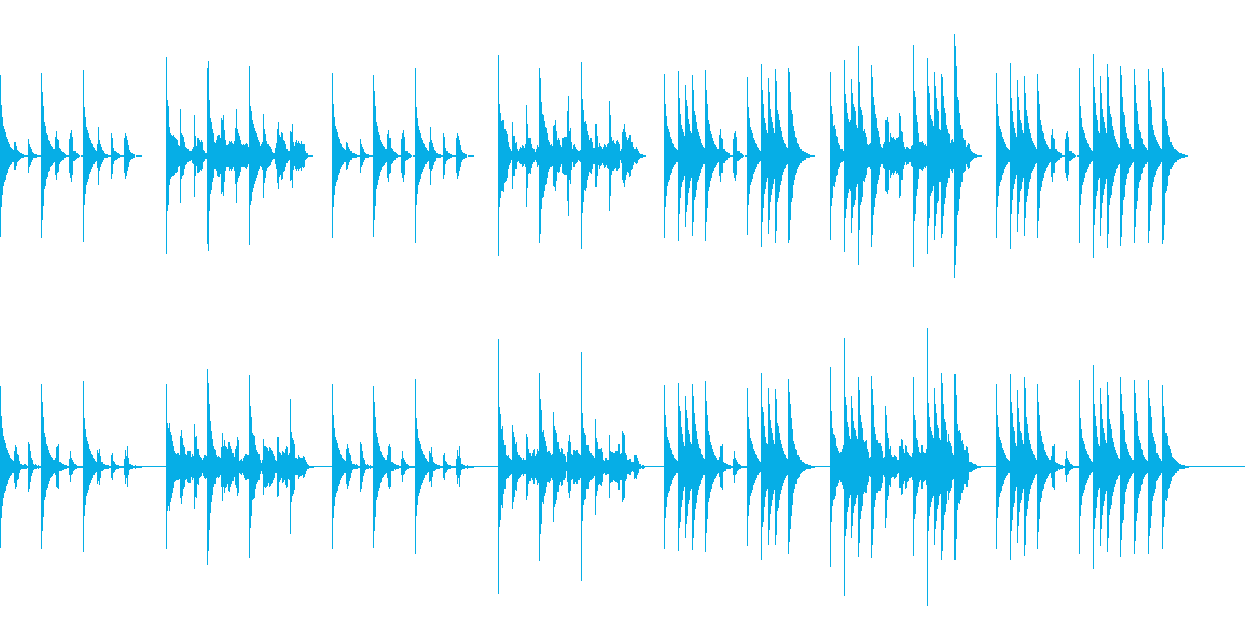 おもちゃの兵隊が歩き回るイメージの曲の再生済みの波形