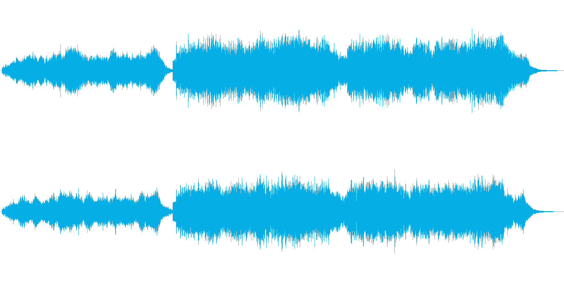 キラキラシンセと笛のほのぼのしたジングルの再生済みの波形