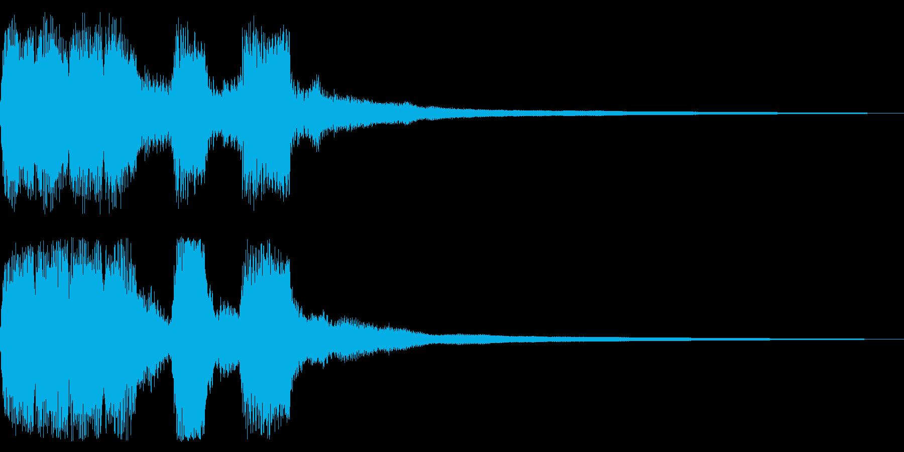 コミカル、レトロなゲームオーバー音の再生済みの波形