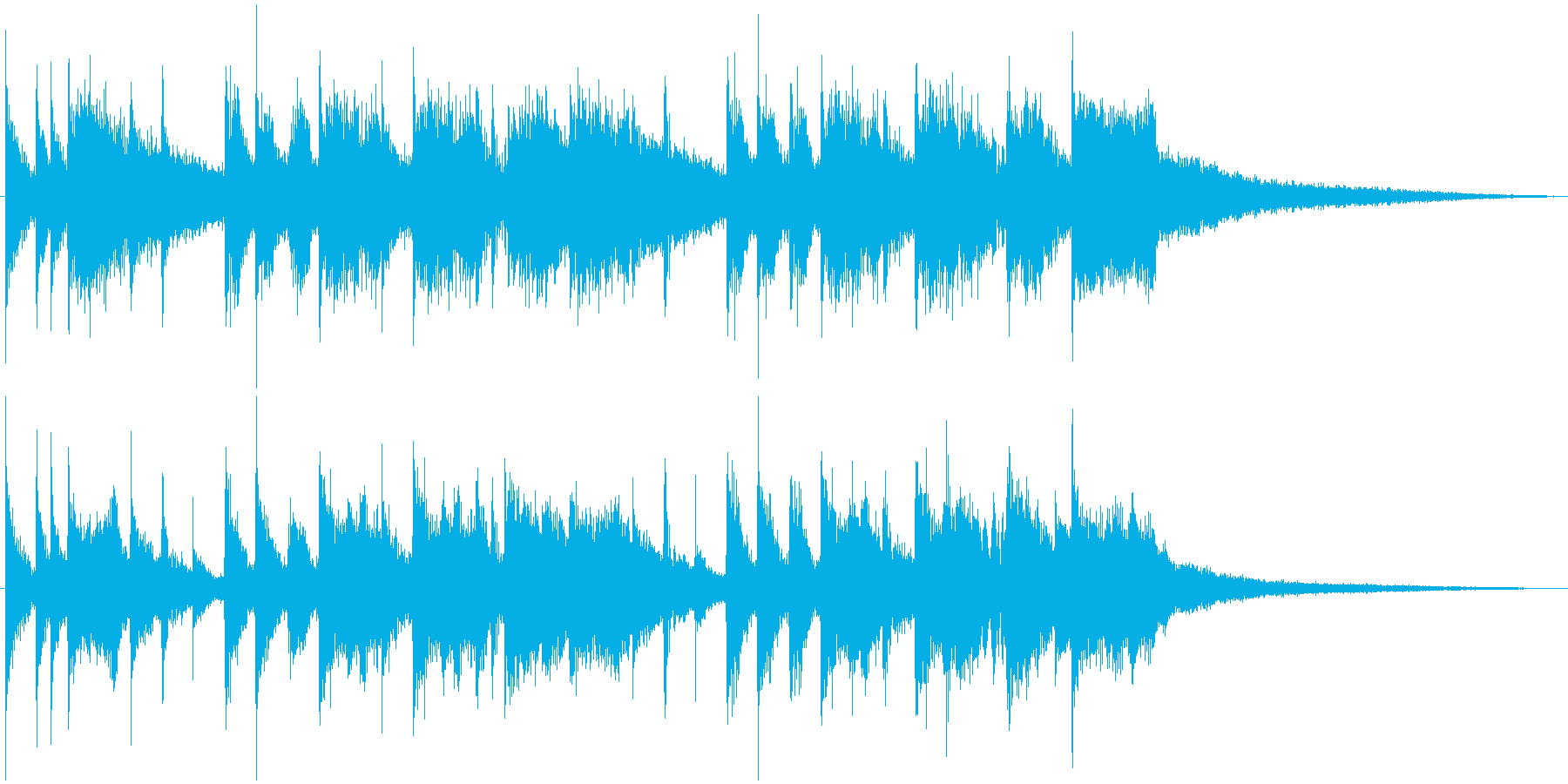 ドラムとトランペットの軽快なジングルの再生済みの波形