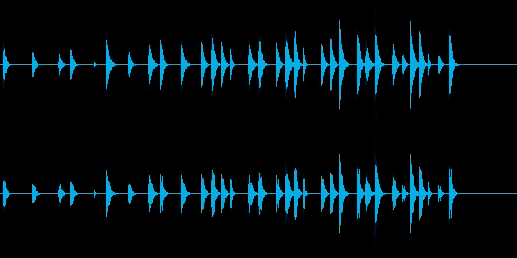 能や歌舞伎の小鼓(つづみ)のフレーズ音の再生済みの波形