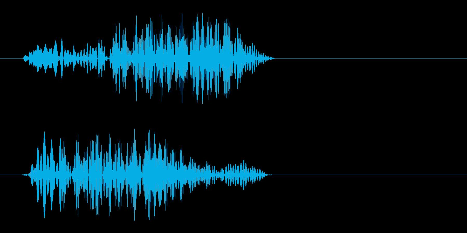 ポンと軽い感じの風切り音の再生済みの波形