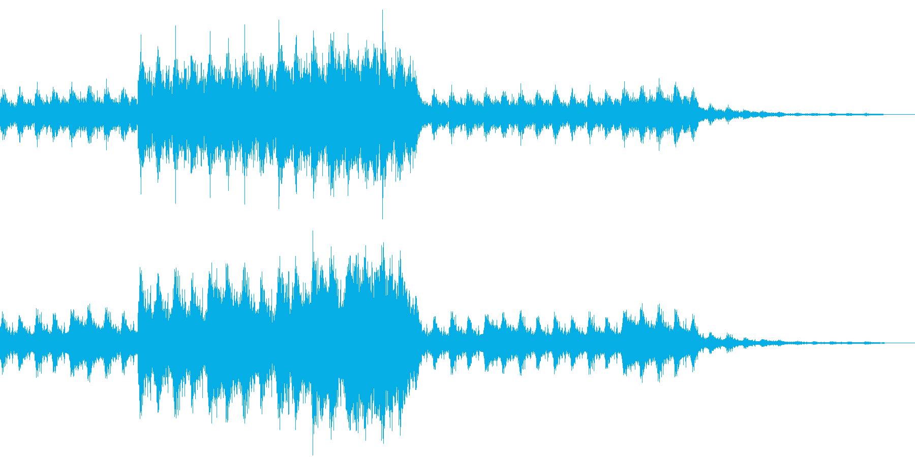緊迫した雰囲気のあるBGMの再生済みの波形