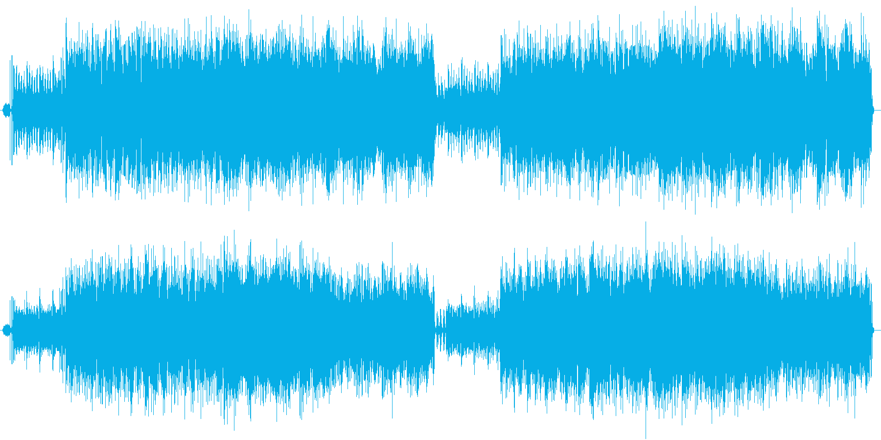 単調だけど飽きさせない音色が絡み合った曲の再生済みの波形