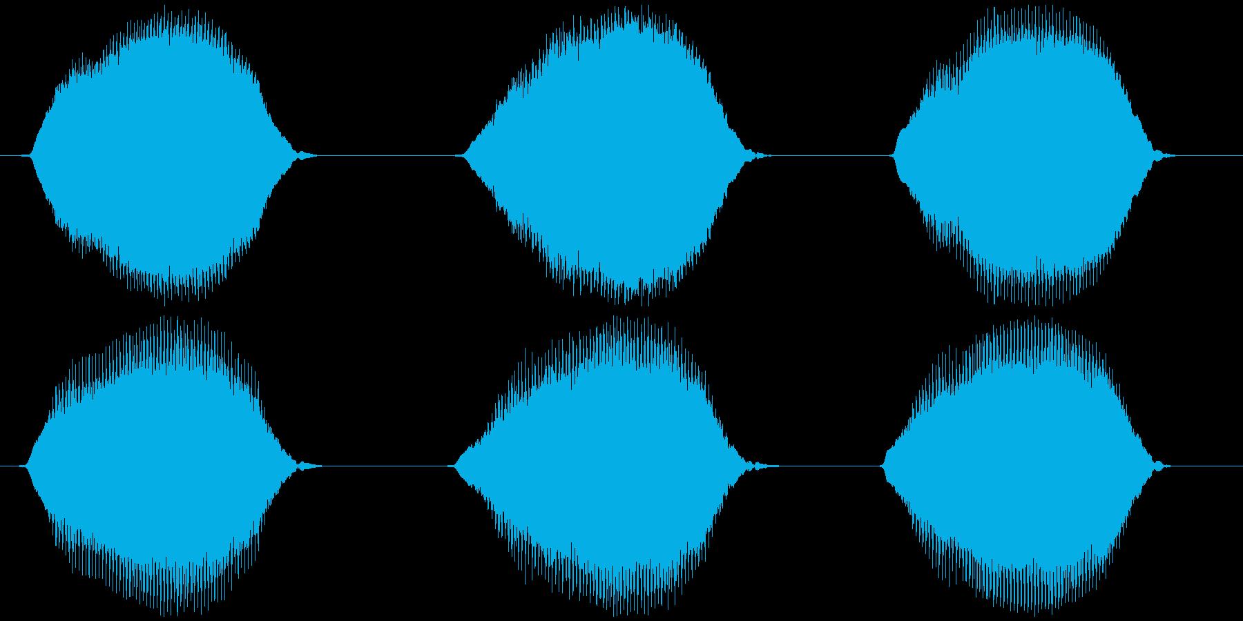 ウシガエルの鳴き声 ブオーゥ×3の再生済みの波形