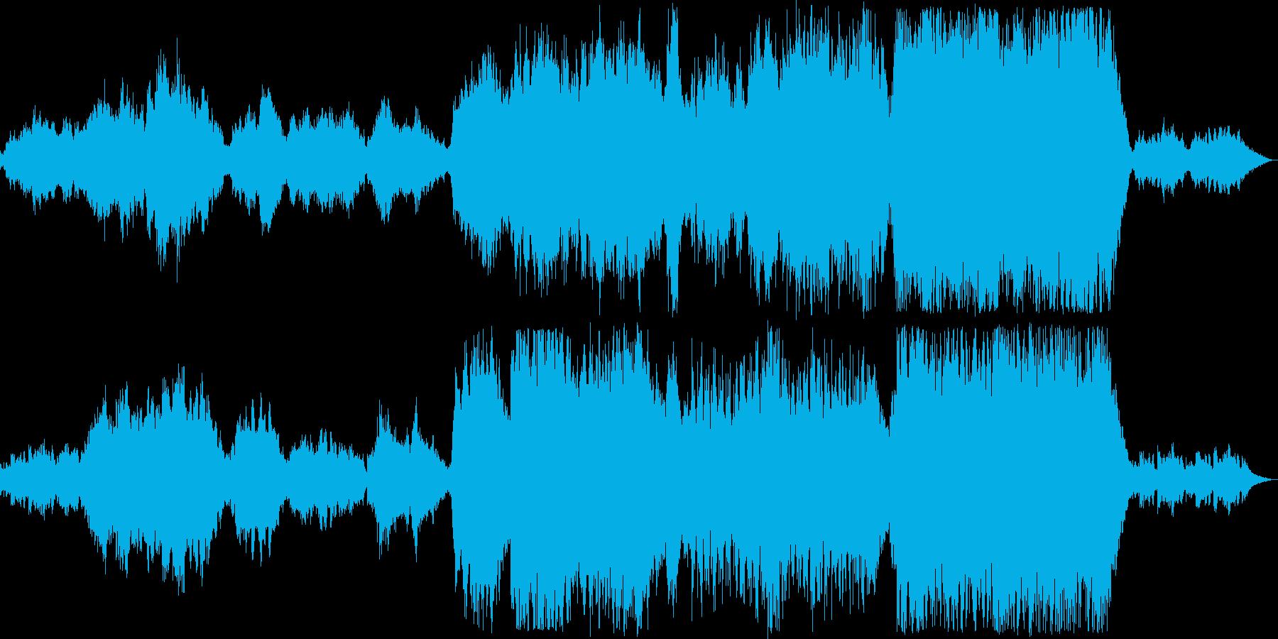 温かい音色のゆったりしたオーケストラの再生済みの波形