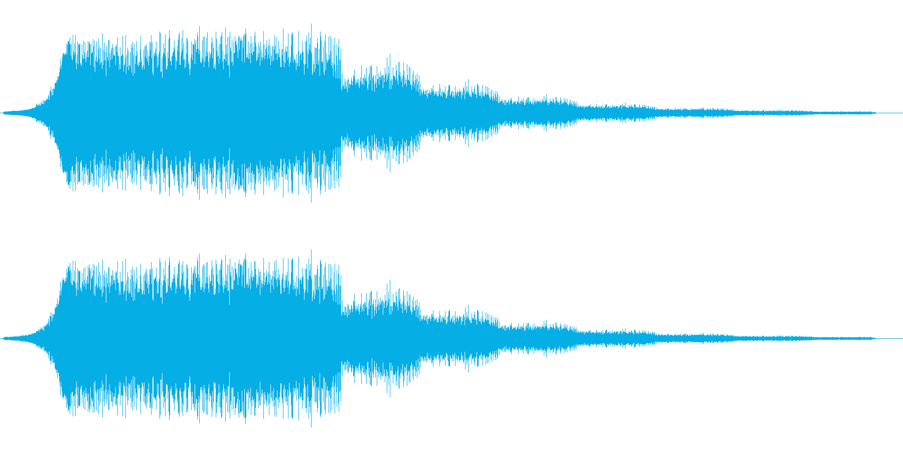 流れるようなシャープな効果音の再生済みの波形