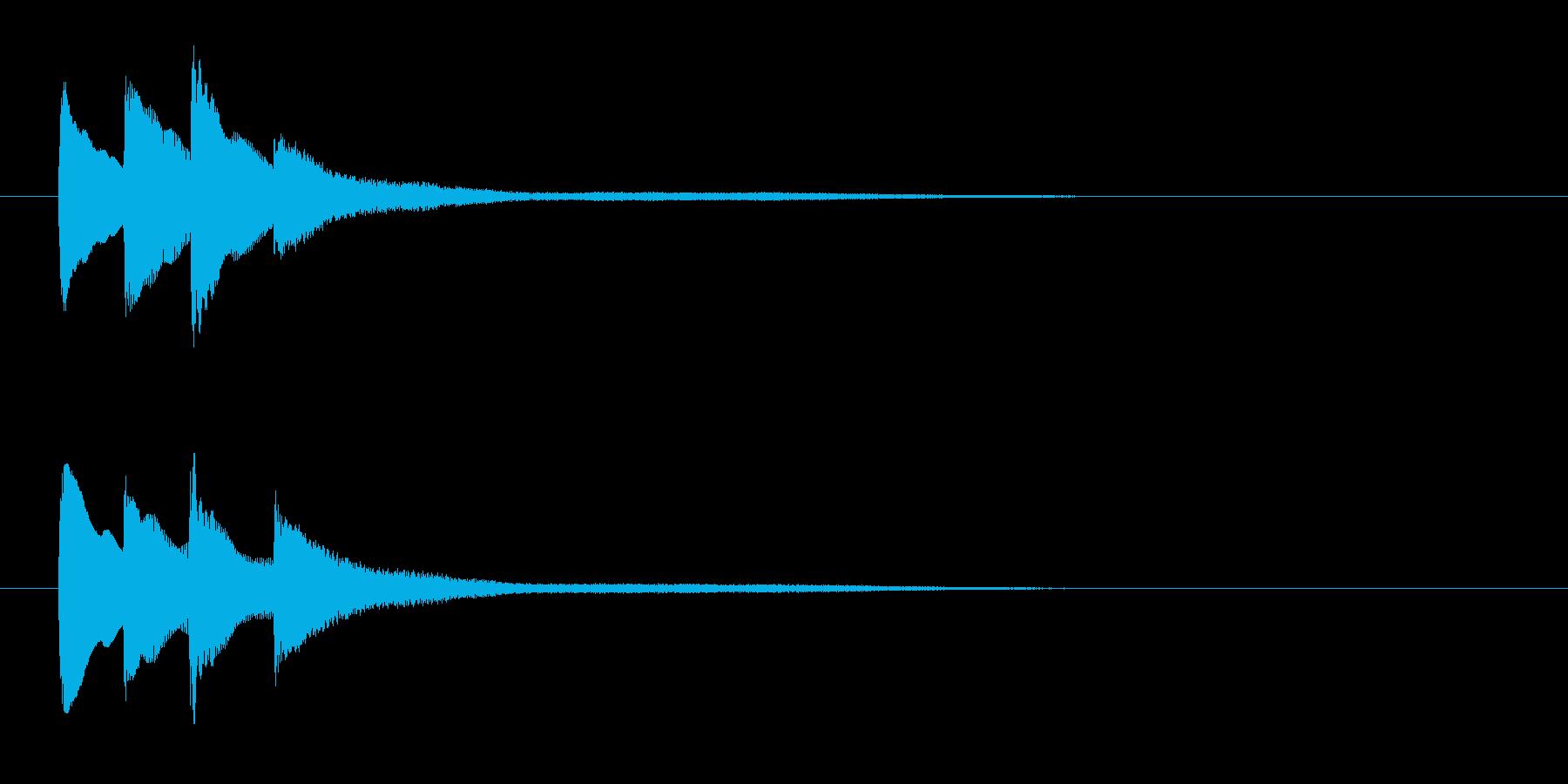 流れるようなイメージのピアノジングルの再生済みの波形