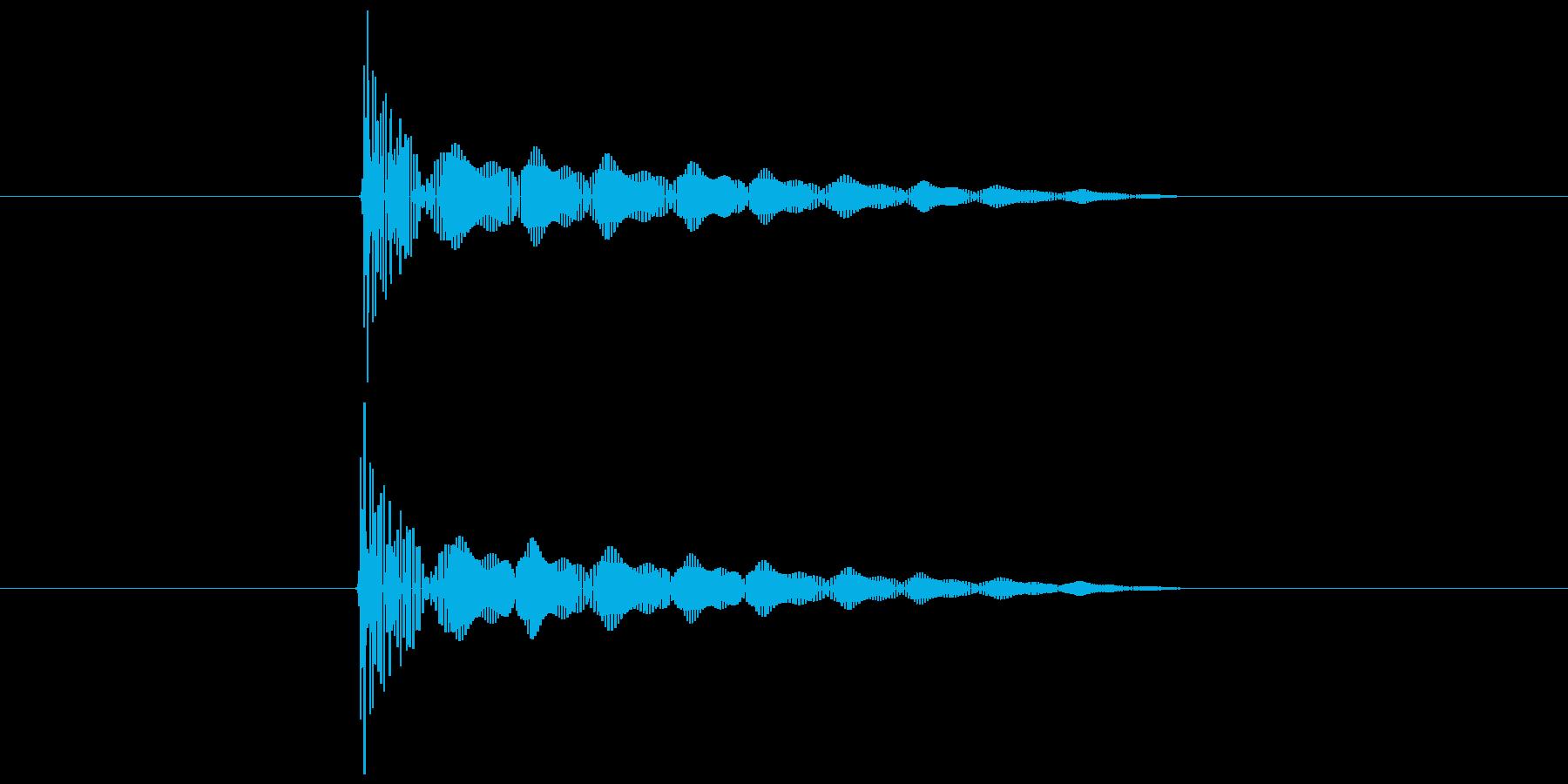ダメージを受けた時の音の再生済みの波形