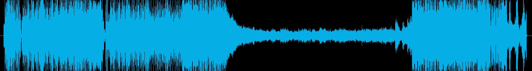 ロックなエレキギター。クールなドラムの再生済みの波形