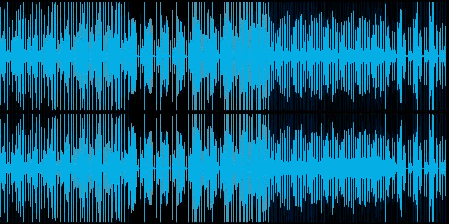 ループ仕様、軽快・コミカルなBGMの再生済みの波形