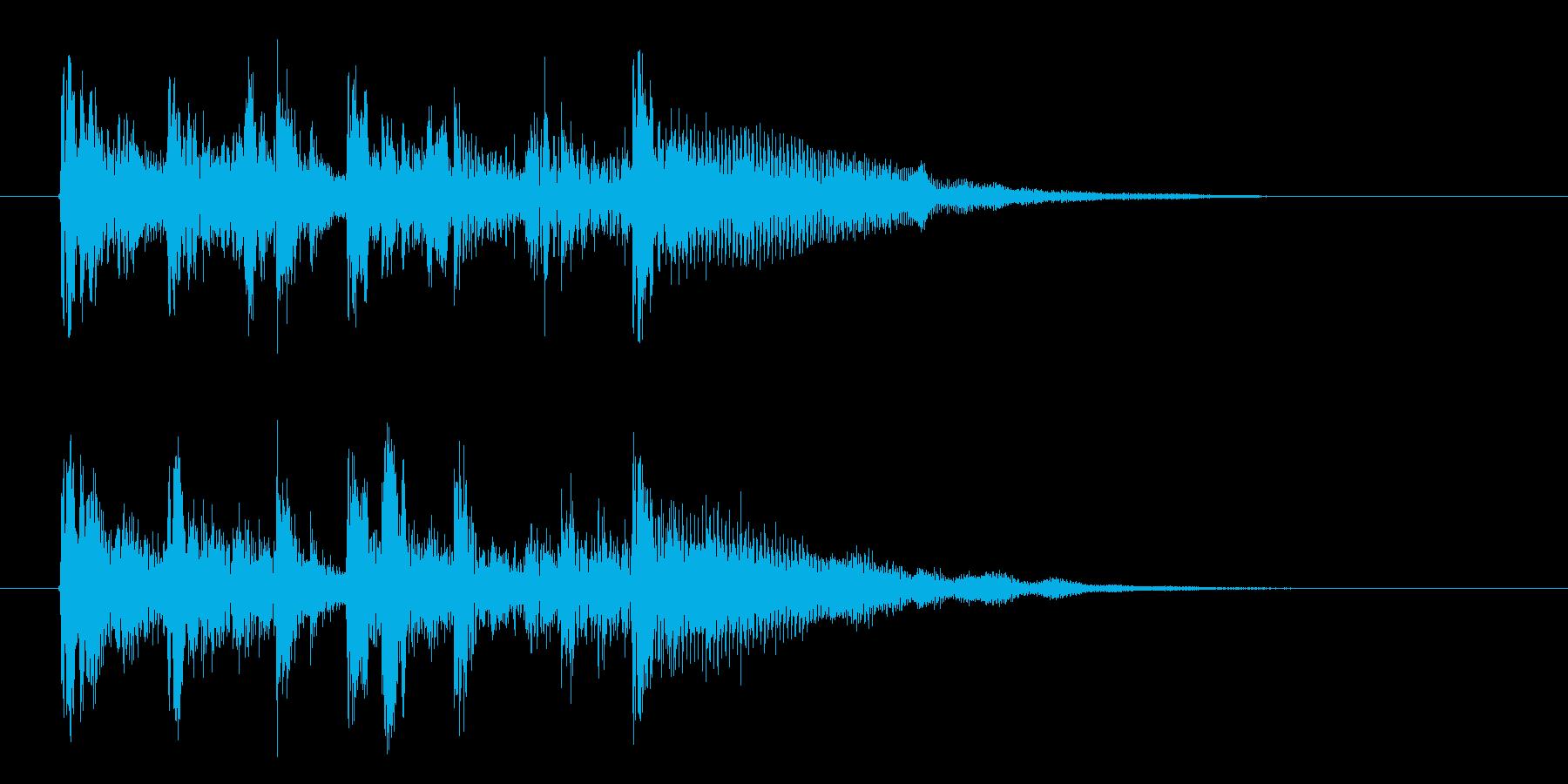 シンセサイザーのゆったりとしたジングルの再生済みの波形