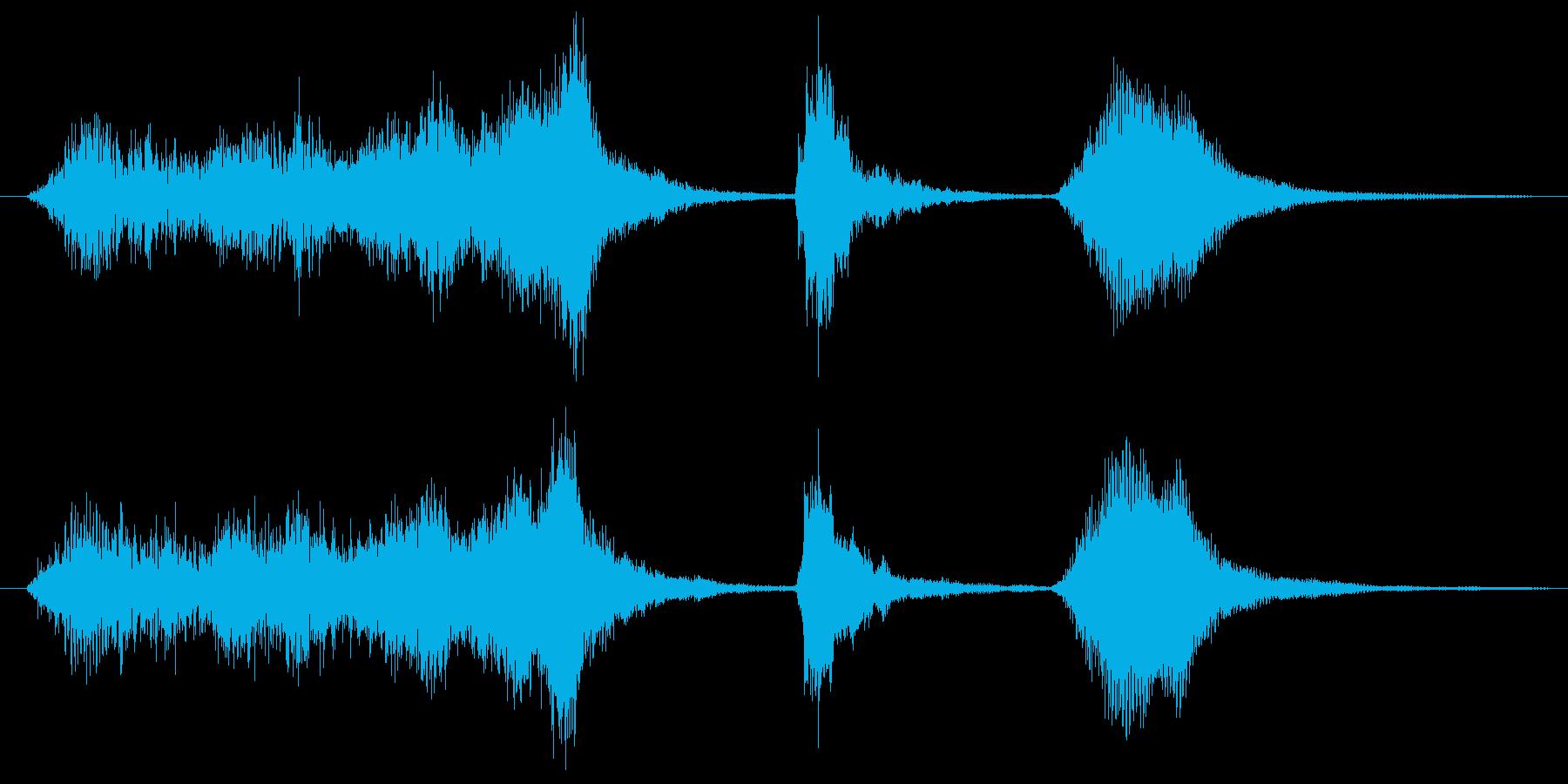 ストリングスが飛び跳ねるサウンドロゴの再生済みの波形
